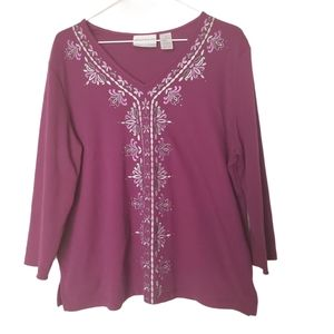 ALFRED DUNNER Blouse Purple Embroidery Rhinestone